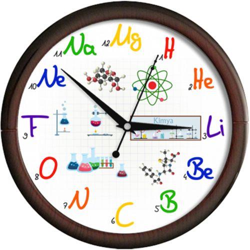 Ceas de chimie cu experimente    Ceas de perete cu elemente din chimie (magneziu, hidrogen, heliu, litiu, beriliu, bor, carbon, azot, oxigen, fluor, neon, sodiu) si diverse experimente de laborator cu eprubete, pahare, palnii.