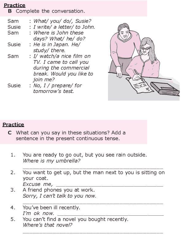 english language continuous writing