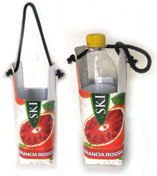 Pescepollo - Porta bottiglia con contenitore tetrapack