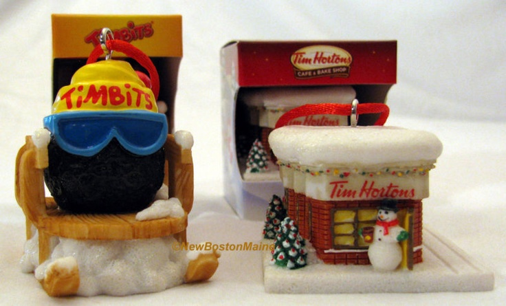 Tim Hortons Coffee Christmas Tree Ornaments TimBits & Horton's Cafe Bake Shop. I have both of these Ornaments from 2012. I <3 them!