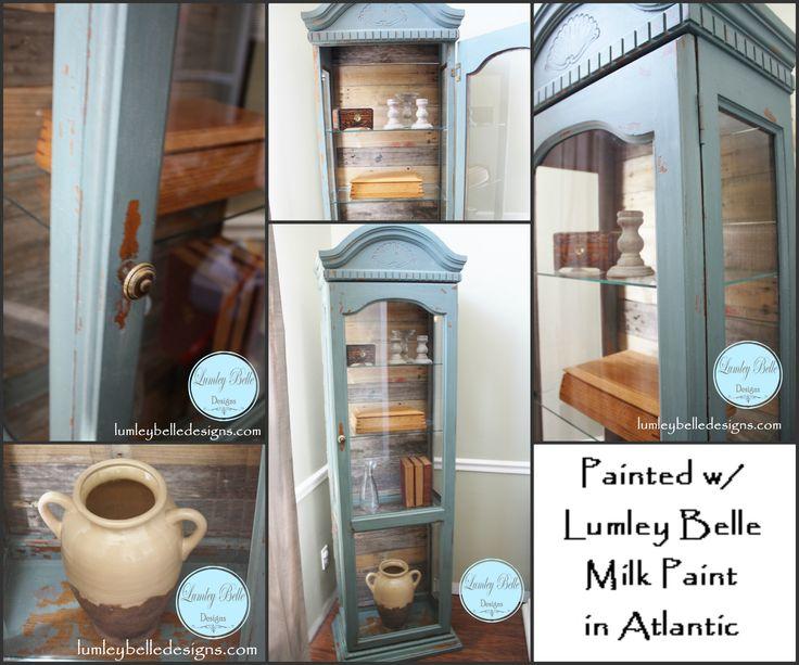@Lumleybelle Designs Painted Curio Cabinet With Lumley Belle Milk Paint In  Atlantic. Plank Pallet