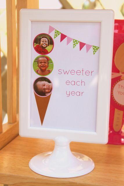 "Photo 7 of 26: 3 Scoops of Ice Cream / Birthday ""Zia turns three!"" | Catch My Party"