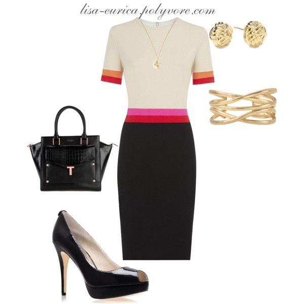 """""""Color block Work Dress"""" by lisa-eurica on Polyvore"""