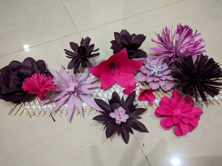 Pink purple paper easy flowers