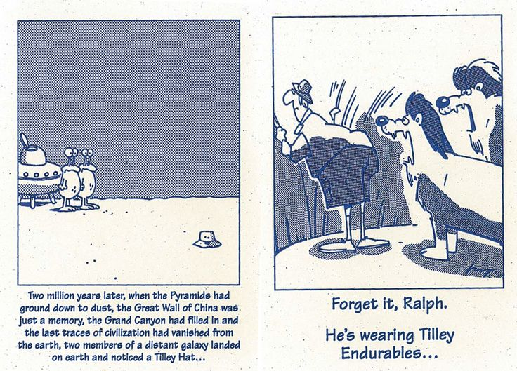 #TBT Throw Back Thursday, Tilley cartoons. Have your Tilley Hats/Clothes had a close encounter and survived? If so, please tell us about it.
