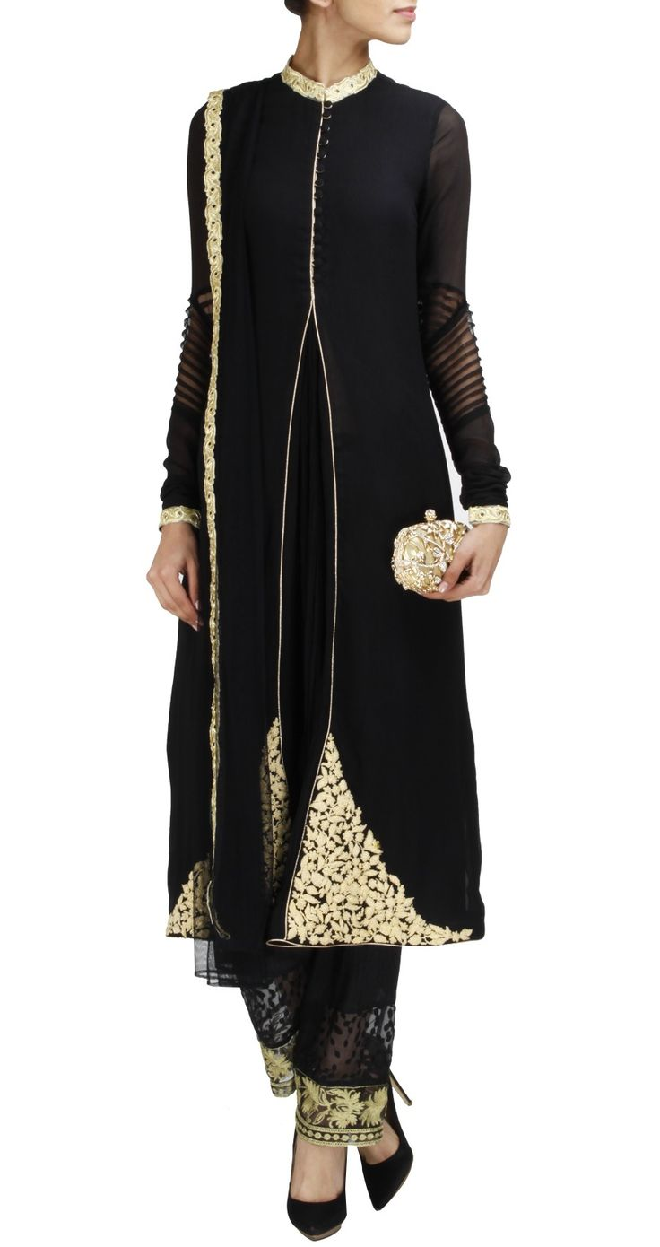 RIDHI MEHRA Black straight kurta set with buttons on the front and gold embroidery