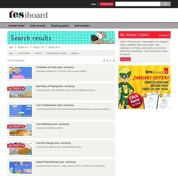 TES iBoard Australian Money Maths Activities - lots of new ones!    The website 'http://www.iboard.co.uk/search/page/1/keywords/australia/type/all' courtesy of @Pinstamatic (http://pinstamatic.com)