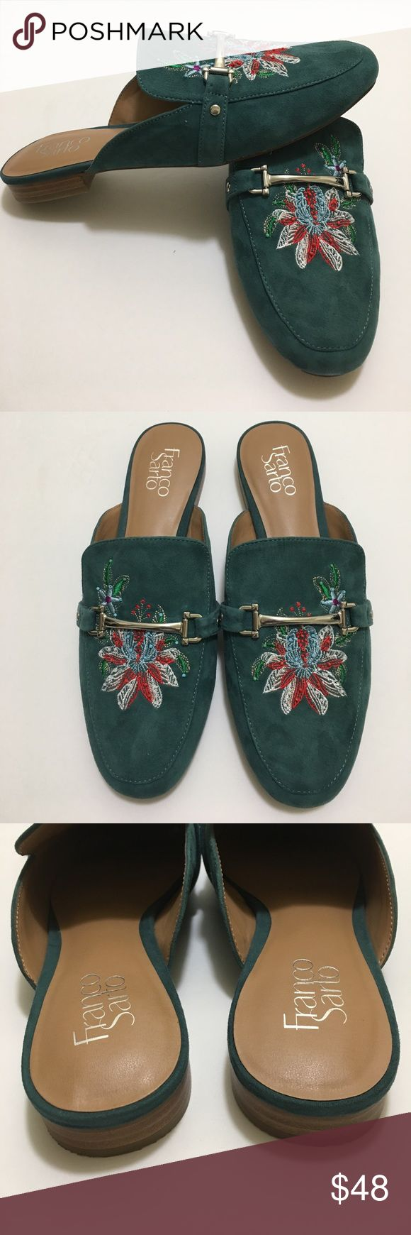 """Franco Sarto """"Devra"""" Flats NWOT- size 8.5M, Harbor Green with Floral stitch and bead design  - Round toe - Suede construction - Metal bit detail - Embroidered detail - Slip-on - Approx. 5/8"""" heel Size is true to size Franco Sarto Shoes Flats & Loafers"""