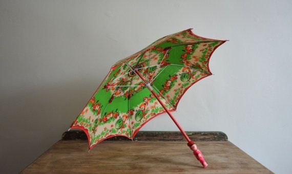 This Is A Vintage Disney Childrens Umbrella Made By Seagull Brand China It Features A Funny Pink Orange Green Pink Fabric Funky Throw Pillows Asian Umbrella