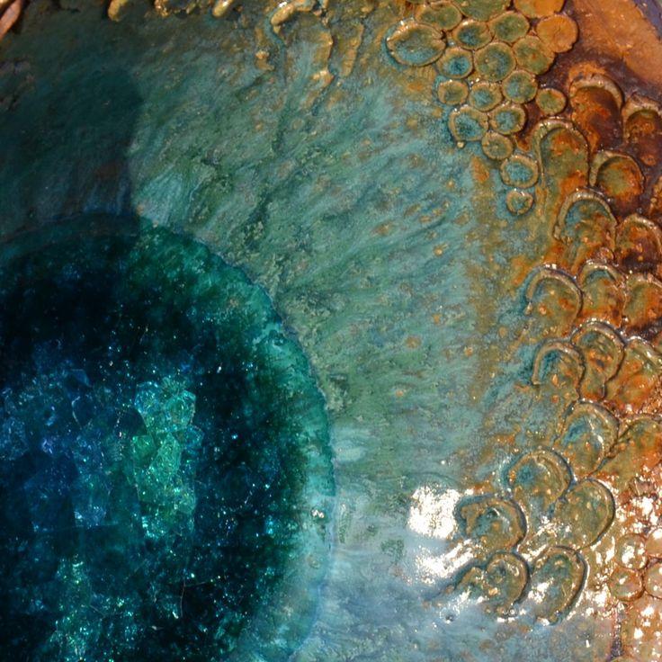 Pítko paví očko výška 44cm průměr mísy 32cm průměr dna 17cm na dně pítka tavené sklo