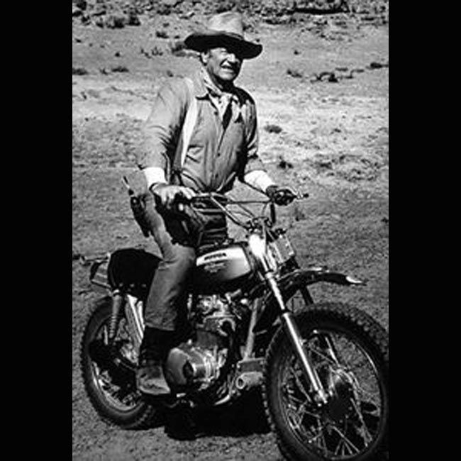 Pic of John Wayne on a Small Dirt Bike  1 of 4 Pictures of Famous People on Motorcycles (click on picture to see all celebs and motorcycles)   Ride Safe,  Steve Flores Lightning Customs  -Motorcycle Photos - http://blog.lightningcustoms.com/motorcycle-pictures -Bike Rallies Calendar - www.LightningCustoms.com