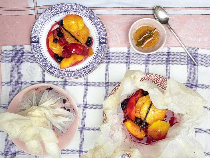 Baked summer fruit parcel