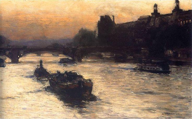 Aleksander GIerymski:    Wieczór nad Sekwaną  1892-93. Olej na płótnie.   Muzeum Narodowe w Warszawie.