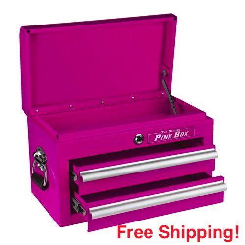 """Pink Tool Box Ladies 2 drawer 18"""" Kitchen Salon Supplies Mini Storage Chest Hot #TheOriginalPinkBox"""