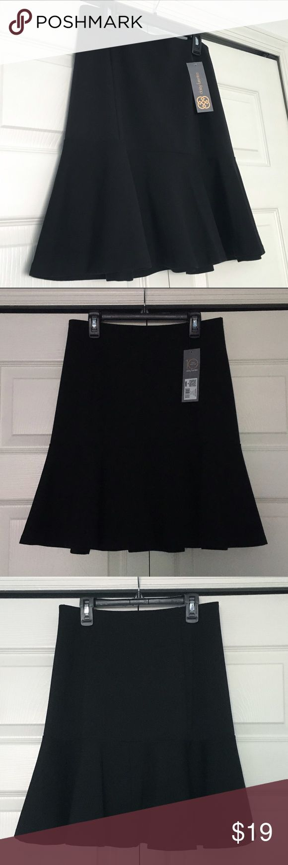 "Daisy Fuentes black skirt Daisy Fuentes black skirt. NWT. Tag reads size M but the sewn on label reads size S. 14"" measured across elastic waist band. Daisy Fuentes Skirts"
