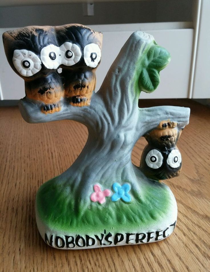 Vintage Owl Nobody's Perfect Spencer's Gifts Figurine