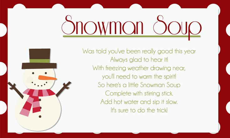 Snowman Soup Recipe Cards | Snowman Soup Printable