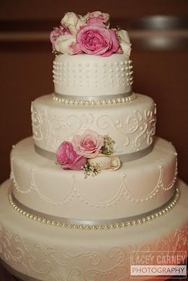 pink & silver wedding cake
