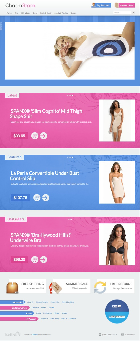 Ice CharmStore #OpenCart eCommerce Theme for Selling Cloths