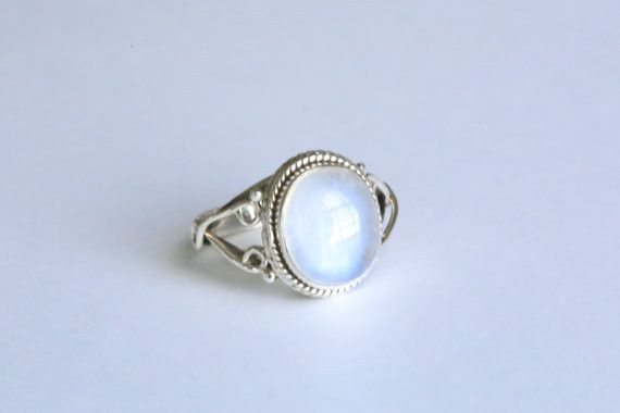 This is a beautiful ethnic 925 Sterling Silver ring with natural Rainbow Moonstone stone. Metal - 92.5 Sterling Silver Stone - Rainbow Moonstone