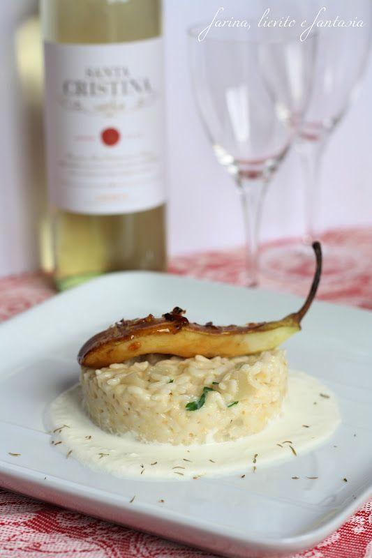 Risotto alle pere e gorgonzola su salsa ai formaggi e pera caramellata. | Farina lievito e fantasia