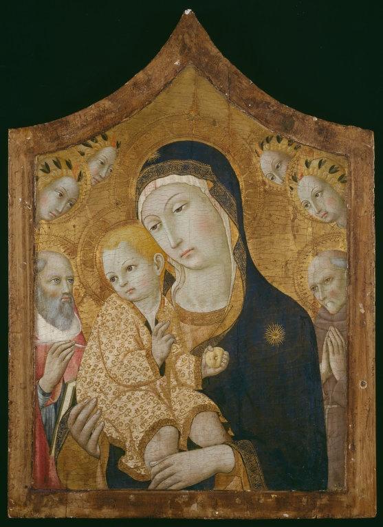 "Sano di Pietro Italian, 1405–1481  Virgin and Child with Saints Jerome, Bernardino of Siena, and Angels, 1450/60  Tempera on panel 79 x 57 cm; 31 1/8 x 22 1/2""; painted surface: 66.2 x 48.2 cm; 26 1/8 x 19 1/4"" AVE GRATIA PLENA dOM (on Virgin's halo), O SVM L (on Child's halo)"