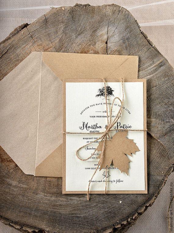 Купить или заказать Приглашение на осенюю свадьбу в интернет-магазине на Ярмарке Мастеров. Оригинальное приглашение на осеннюю свадьбу в эко стиле. Возможно изготовление в любом цвете. Листик может быть от любого дерева. В комплект входит конверт Минимальный заказ 10 шт.