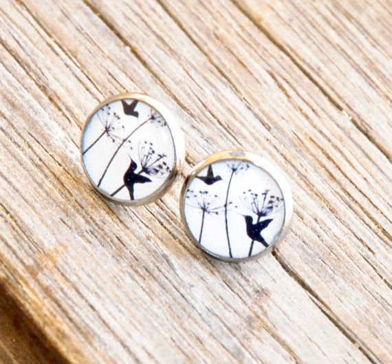 Hummingbirds Resin Post Silver Earrings by MyBlossomCouture, $12.50