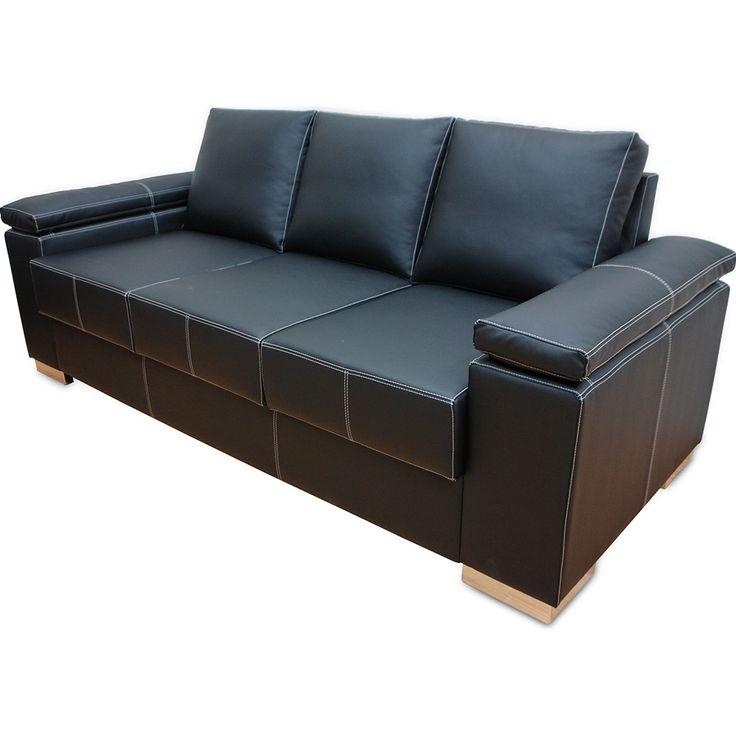 sofa de couro preto retratil 2