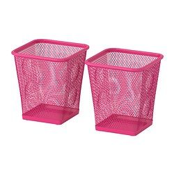 IKEA - DOKUMENT, Pencil cup, pink,  , , Rubber feet underneath protect the surface below from scratches and make the pen holder stand steady.