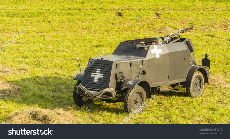 Biskupice Radlowskie, Poland - September 07, 2014: Armored vehicle from the Second World War.