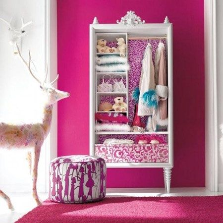 dress up storage: Decor Ideas, Dresses Up, Girls Bedrooms Design, Pink Rooms, Interiors Design, Rooms Ideas, Little Girls Rooms, Pink Wall, Pink Bedrooms