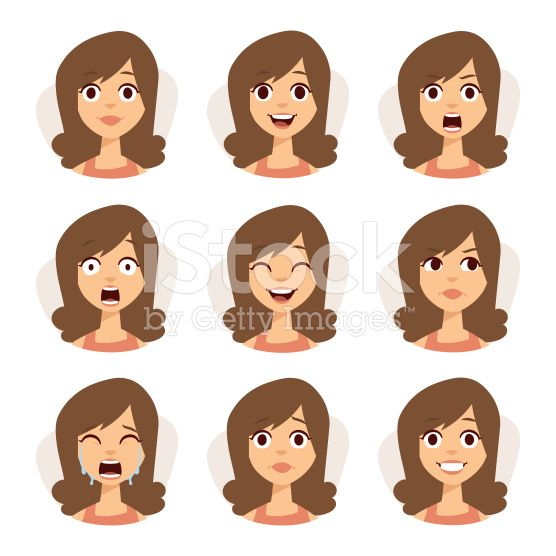 Isolated set of woman avatar expressions face emotions vector illustration royalty-free stock vector art
