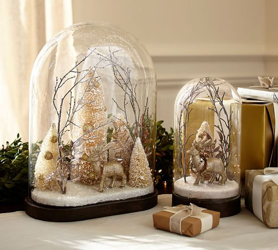 Scenic Deer Cloche Pottery Barn Christmas Decorations