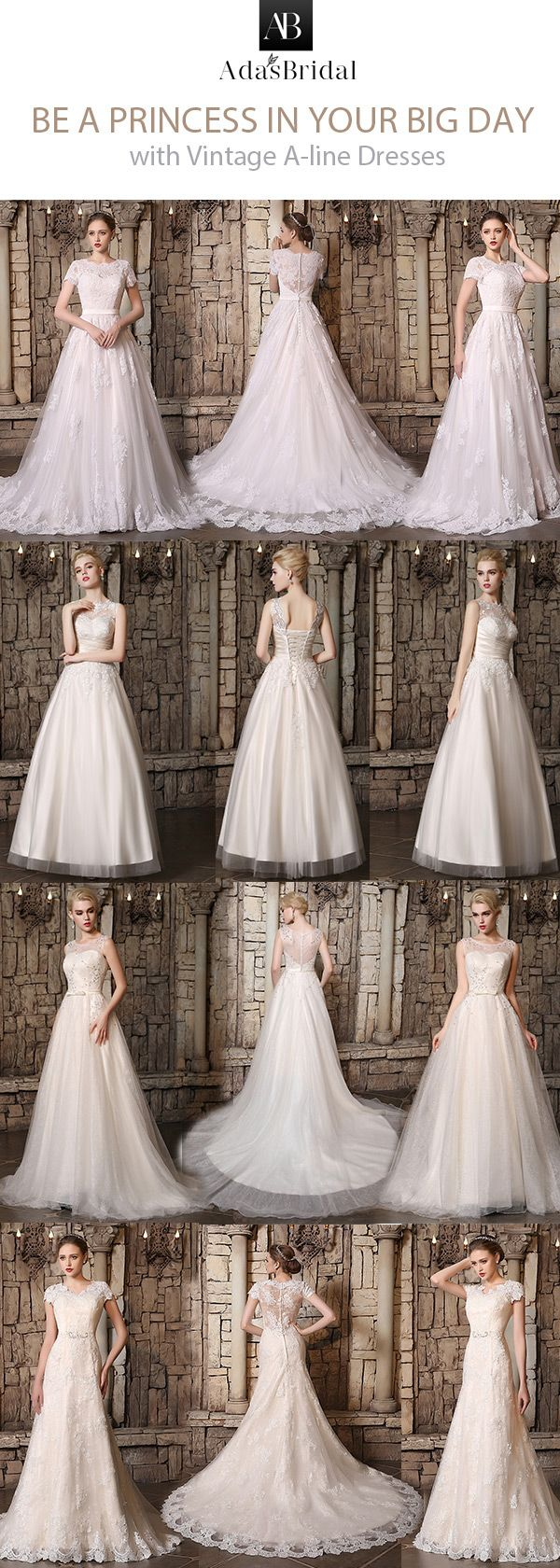 Aline wedding dresses is the best choice for all body shapes, and vintage style is the most classical in the fashion. - Adasbridal.com