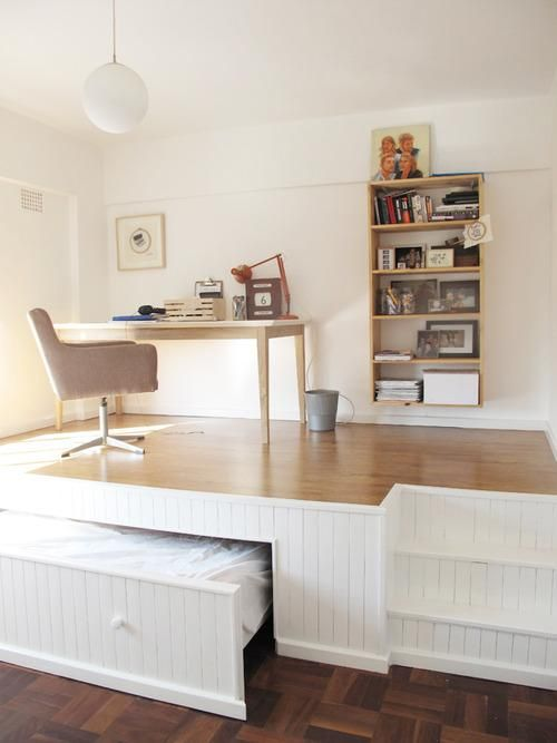 the desk space hides a bed underneath to increase storage beds hideaway furniture ideas