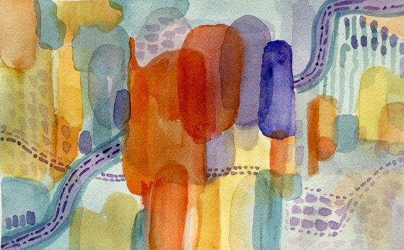 Carnival-Watercolor Abstract-Original-Orange-Blue by ARTEQUALSJOY