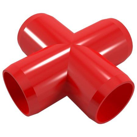 PVC Pipeworks 1-1/4 inch Cross PVC Furniture Grade Fitting in Red - X Joint (4-Pack)