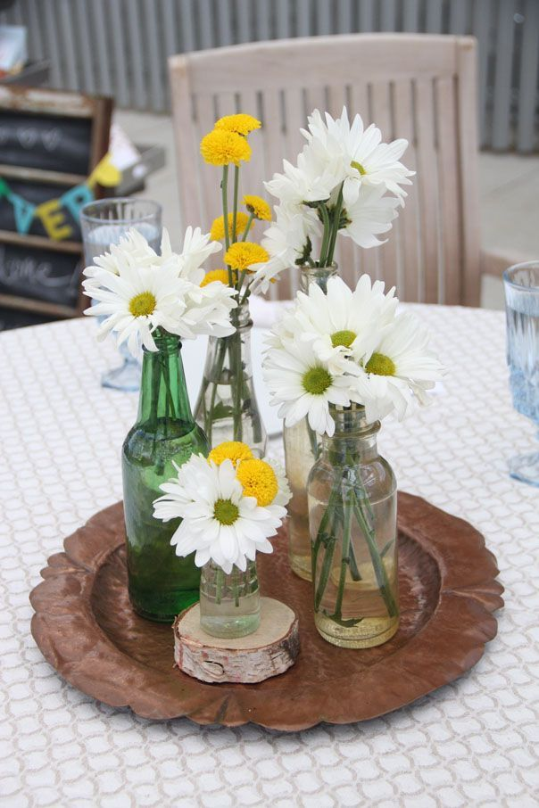 daisies table arrangement wedding - Google Search