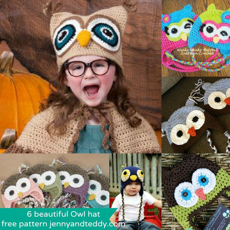 6 Owl crochet hats ~  free patterns