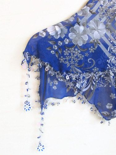 Christmas gift Cobalt Blue scarf  Tringle Traditional by asuhan, $24.00