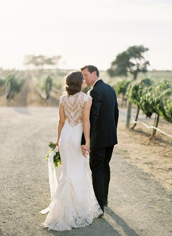 love her dress | Claire Pettibone | http://josevillablog.com/2013/01/brianne-and-brien-wedding-sunstone-winery/#