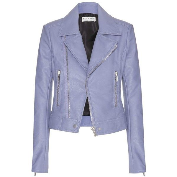 Balenciaga Leather Jacket found on Polyvore featuring outerwear, jackets, balenciaga, leather jacket, coats, purple, purple jacket, real leather jacket and 100 leather jacket