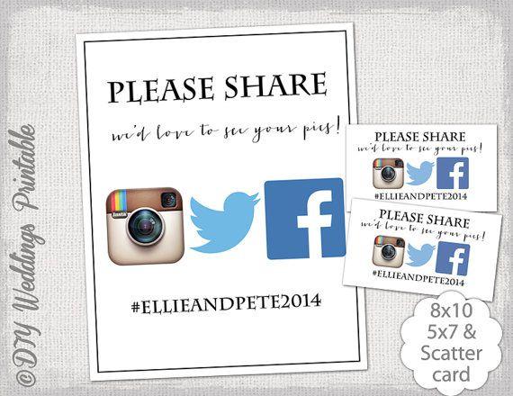 Instagram Sign Template DIY Social Media By Diyweddingsprintable