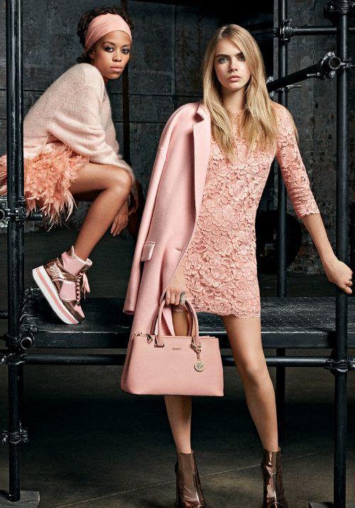 """ Brandee Brown & Cara Delevingne for DKNY Resort 2015 Advertising Campaign. """