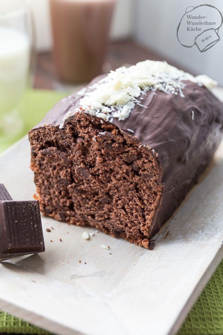 Schokoladen - Buttermilch Kuchen aus der Kastenform. Rezept. Königskuchenform. Zartbitterschokoladenkuchen. Super schokoladig und saftig. Aprikosenmarmelade. Aprikosenkonfitüre. Aprikotieren. Schokolade. Zartbitter. Kastenkuchen. Trockener Kuchen. Rührkuchen.