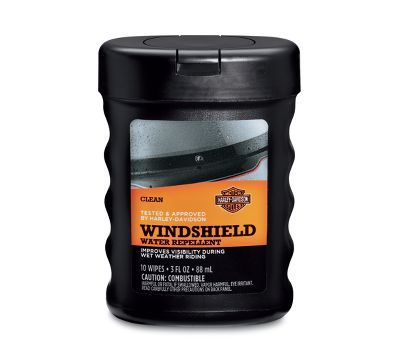 Approved for use on Harley-Davidson® Lexan® windshields. Enhances visibility during wet-weather riding.