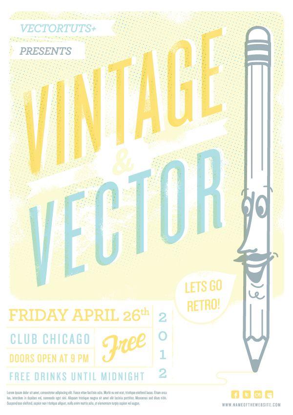 Vintage Vector Design Workflow: Creating a Retro Flyer Design: Graphic Design, Retro Flyer, Design Workflow, Tutorial, Flyers, Vector Design, Vintage Vector, Flyer Design