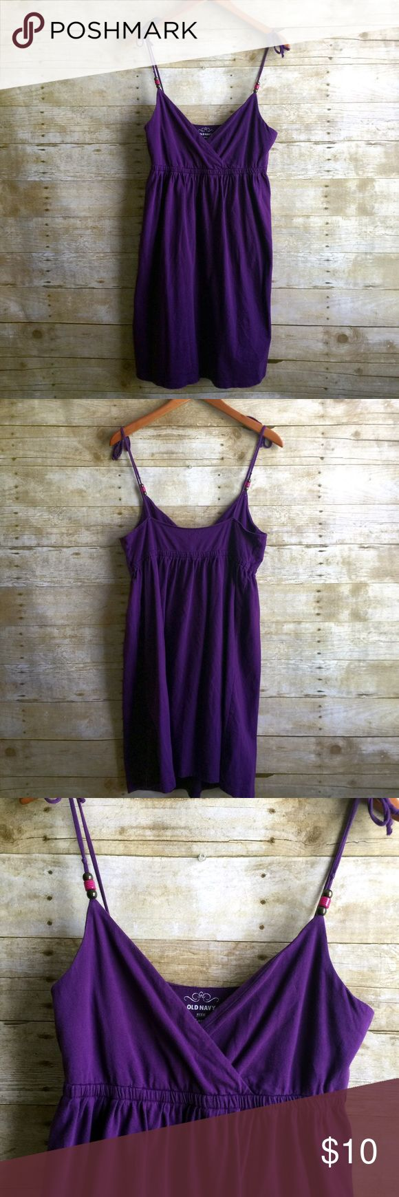 Dark Purple Dress Like new condition! Non adjustable straps. Beautiful dark purple color with beaded accents Old Navy Dresses Midi