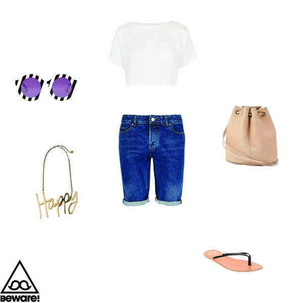 #Fashion Selection n°38 : Top Shop top, Top Man shorts, Lanvin neckless, House of Holland glasses, Urban Outifitters sandals, American Apparel bag : http://bewaremag.com/2013/07/21/selection-mode38/